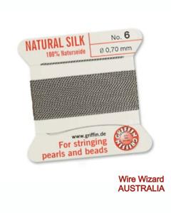 GRIFFIN 100% Pure Silk Bead Cord - GREY - 2 metres cord + needle