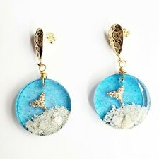 Earrings Handmade Resin Mermaid Beach Clear Ocean Blue Goldfilled Gift for Her