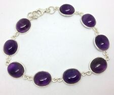 Amethyst gemstone oval Bracelet Solid Sterling Silver, Actual One. New. UK only.