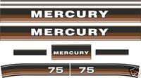 1984 1985 MERCURY 75 hp Reproductions Outboard Decal Kit