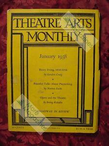 THEATRE ARTS January 1938 J. B. Priestley Henry Irving Walt Crane Morton Eustis