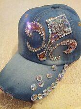 Denim*Cap*Baseball*Rhinestones*New*One Size*Pink*Embellished*Stones*Bling!
