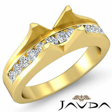 Natural Diamond Engagement Gorgeous Ring 18k Yellow Gold Emerald SemiMount 0.6Ct