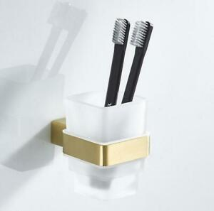 Single Toothbrush Holders w/Tumbler Wall Mount Stainless Steel Brushed Gold