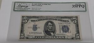 1934-C $5 Five Dollar Silver Certificate Wide Face Fr. 165 Legacy VF 35 PPQ