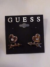 AUTHENTIC GUESS HEART ARROW CRYSTAL STUD EARRINGS NEW $25