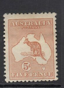 AUSTRALIA-1913 5d Chestnut.  A mounted mint example Sg 8