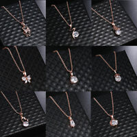 Womens Cubic Zirconia White Choker Wedding Jewelry Pendant Rose Gold Necklace