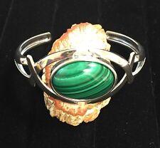 Sterling Silver Criss-Cross Cuff Bracelet with 28.5 Carat Malachite Gemstone