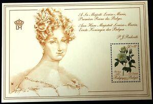 Belgium Block 1988 Queen Louise-Marie & Roses - MNH - Complete