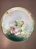 Vintage M+Z Austria Hand Painted Plate White Yellow Pink roses 8.5 Inch