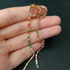 85mm multi color Cubic Zirconia chain Circle Hoop earrings