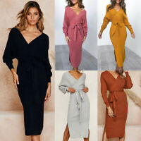 Women Lady Knitted Dress Long Sleeve Waist Knot Stretch Sweater Slit Dresses