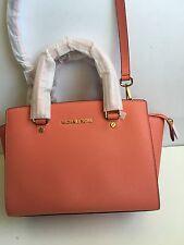 NWT Michael Kors Selma Medium Saffiano Leather Satchel Pink Grapefruit Gold $298