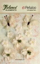 Burlap IVORY 2 Butterflies 4cm - 3 Blossoms 4.5cm - 5 Minis 2cm - Petaloo BUR E