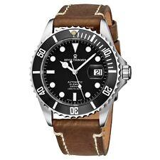 Revue Thommen Men's Diver Black Dial Brown Suede Strap Automatic Watch 175712537