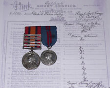 QSA & 1911 CORONATION MEDAL TO 2nd DRAGOON GUARDS MOUNTED + Papers & Roll etc