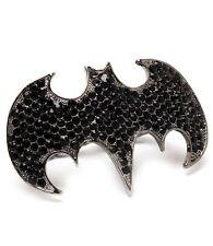 Batman Black Crystal Gunmetal Hematite Fashion Knuckle Ring  Sz OSFM