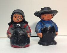 (55181) VINTAGE GREY IRON AMISH YOUNG BOY and GIRL