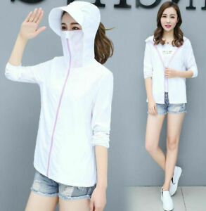 Womens Hooded Sun-Protective Coat Anti-Uv Top Cycling Beach Breathable Jacket