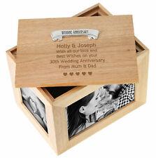 30th Pearl Wedding Anniversary Engraved Large Oak Keepsake Box 30 Years Gifts