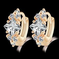 FT- Womens Delicate Charm Zircon 9K Gold Plated Hoop Eardrop Huggie Earrings Jew
