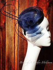 NAVY BLUE #21CLEARANCE Feather Flower Fascinator MelbourneCup Wedding SpringRace