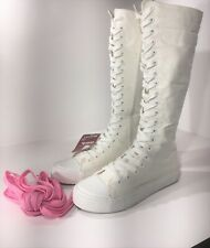 LEINIER CANVAS SNEAKERS BOOTS,WHITE,PUNK,EMO,WOMEN/GIRL U.S.A. SIZE  7 ½