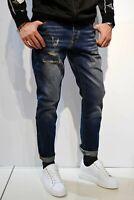 OVER D Jeans Casual Sportivi Pantaloni Uomo Denim SLIM Blu Sabbiato Con Strappi