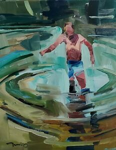 JOSE TRUJILLO Oil Painting IMPRESSIONISM PERSON WATER BATHER COLLECTIBLE ART