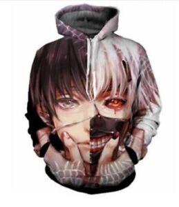 Tokyo Ghoul Kaneki Ken Anime Hoodie Casual Sweater Pullover Sweatshirt Jacket