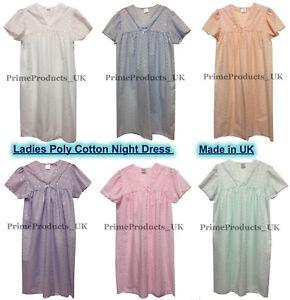 Ladies Women's Poly Cotton Short Sleeve Nightshirt Nightdress Made In UK