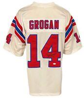 New England Patriots Steve Grogan Autographed Pro Style White Jersey JSA Auth...
