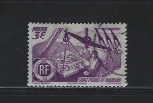 ST. PIERRE & MIQUELON - #334 - 1947 FISHERMAN & CATCH USED STAMP
