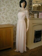 16 TALL MAYA MAXI DRESS NUDE EMBELLISHED CHIFFON 20S 30'S WEDDING VINTAGE GATSBY