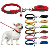 Safety Reflective Nylon Dog Collar and Leash Set with Bell for Dogs Small Medium