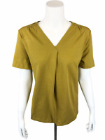 Denim & Co. Essentials Women's Perfect Jersey Pleated V-Neck Top Gold Large Size