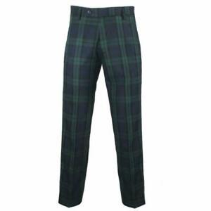 Scottish Black Watch Mens  Tartan Trousers By Carabou New