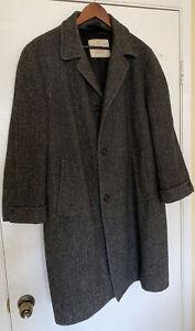 Vtg.Harris Tweed Handwoven Scottish Wool Long Winter Overcoat Coat Jacket *READ*