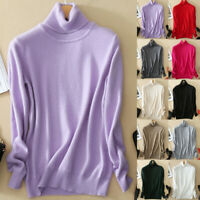 Women Slim Knitted Turtleneck Cashmere Long Sleeve Jumper Pullover Sweater