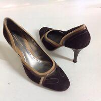 Donald Pliner Sport-I-Que Womens Heels Pumps Shoes Brown Suede Size 8.5 Classic