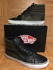 RARE🔥 VANS Sk8-Hi Tech Loden Olive Army Green Boot Black Leather Sz 13 Hiker LE