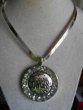 WESTERN COSTUME JEWELRY SILVER TONED RHINESTONES COWGIRL HANGER CHOCKER NECK