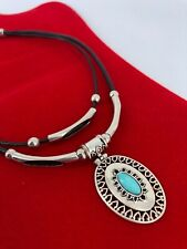 Custom Made Jewelry Necklace Bohemian Silver tone Turquoise Leather Cord