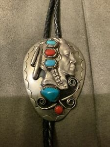 """Vintage Handcrafted Indian Head Turguoise & Coral Bolo Tie 2.5"""" X 1-7/8"""""""