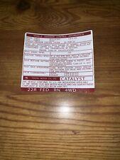 1981 Gen Toyota Pickup Truck Hilux Emissions Decal Repro Sticker 1st Gen 4wd Fed
