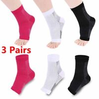 3 Pairs Ankle Sleeve Compression Socks Support  Plantar FASCIITIS Pain Relief