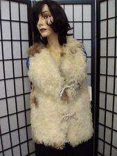 EXCELLENT NATURAL CURLY LAMB SHEEP FUR VEST JACKET WOMEN WOMAN SIZE 0 SMALLEST