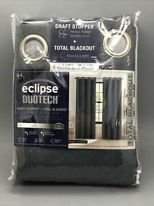 """Eclipse DuoTech Total Blackout Draft Stopper Panel Pair Marks Charcoal 104Wx84""""L"""