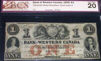 1859 BANK OF WESTERN CANADA  $1 -GREAT CONDITION